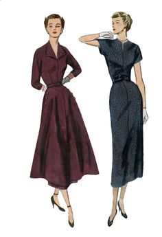 1940s Wiggle Dress or Dress w Overskirt Simplicity 2954 Vintage 40s Rockabilly Sewing Pattern Size 16 Bust 34 UNCUT by sandritocat on Etsy