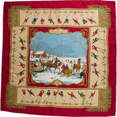 Pre-owned Hermes Les Plaisirs du Froid Silk Scarf ($245) ❤ liked on Polyvore featuring accessories, scarves, red, red scarves, pure silk scarves, silk shawl, red silk scarves and hermès