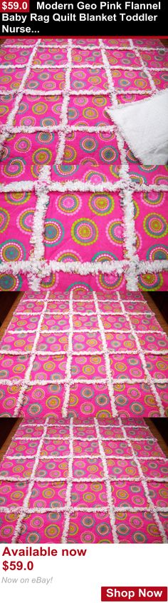 Quilts And Coverlets: Modern Geo Pink Flannel Baby Rag Quilt Blanket Toddler Nursery Lap Handmade Girl BUY IT NOW ONLY: $59.0