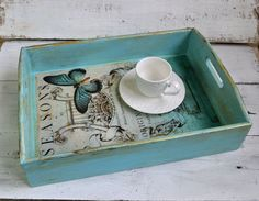Serving Tray, Shabby Chic Serving Tray, Wood Tray, Kitchen Tray, Ottoman Tray…
