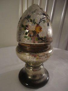 "Antique 16"" mercury tantalus/ crackled mirrored glass cordial set ..."
