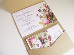 ONE SAMPLE Vintage Botanical Kraft Pocketfold Wedding Invitation Suite, Set of 5…