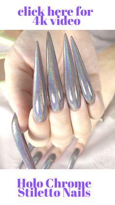 Holographic Chrome Stiletto Acrylgel Nails in Minimalist Beauty, Flatlay Styling, Beauty Review, Stiletto Nails, All Things Beauty, Long Nails, Holographic, Flat Lay, Beauty Hacks