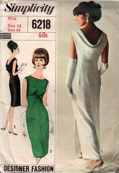 Simplicity 6218 Womens Evening Sheath Dress with Back Draped Neckline 60s Vintage Sewing Pattern Size 14 Bust 34 inches