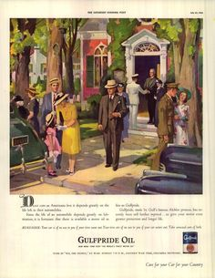 1942 gulf oil ad church daily life in america soldiers children family vintage illustration art, Retro Ads, Vintage Ads, Vintage Prints, Vintage Illustration Art, Vintage Drawing, Elegant Couple, Old Gas Stations, Old Advertisements, Old Ads