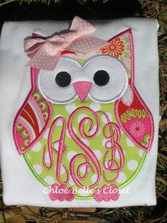 Monogrammed Owl Shirt by juliesonny on Etsy, $24.99