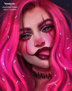 Heymarytober day 4 clown todays post is a pink one! im really exhausted now its 2 am and i stayed up late to finish this im i am fia sometimes i draw the things enjoy your stay! Dope Cartoon Art, Girl Cartoon, Dibujos Tumblr A Color, Digital Art Girl, Anime Art Girl, Portrait Art, Aesthetic Art, Makeup Art, Cute Drawings