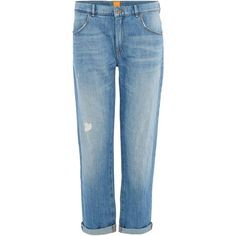 Hugo Boss Cropped boyfriend J70 jean (320 NZD) ❤ liked on Polyvore featuring jeans, denim light wash, women, light wash boyfriend jeans, boyfriend crop jeans, hugo jeans, cropped jeans and boyfriend fit jeans