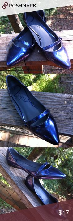 Vogue navy blue Patton leather slip on shoes Vogue, navy blue,Patton leather, slip on ,pointy toes , one little strap, so cute and easy slip on for jeans or dress up... A 'Kristens Find' posh on girlfriend;) Vogue Shoes Flats & Loafers