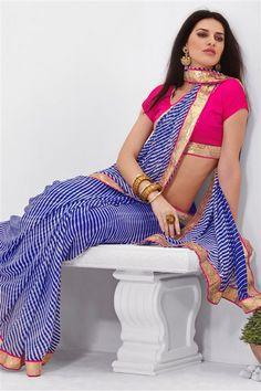 Georgette Blue Printed Saree