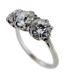 WW1 3-Stone Diamond Ring #love #wedding