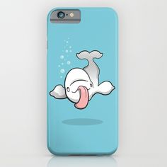 Crazy Beluga iPhone & iPod Case - Baby beluga, whale, white, mammal, fish, sea creatures, water, ocean, bubbles, tongue, silly, cute, cartoon, art, design, illustration, vector, drawing