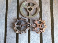 Faucet handles vintage cast iron large by rustyitems on Etsy, $35.00
