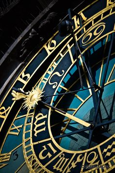 A close up of the astronomical dial on the Astronomical Clock in Prague, Czech Republic.