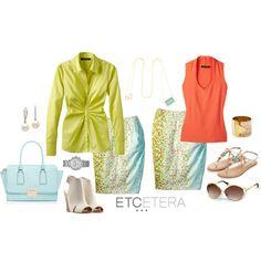 Etcetera | Summer 2015:  KEYLIME green blouse, POISED petit fleur skirt, HILARY red orange blouse.