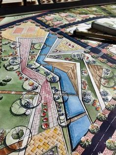 HOME DESIGN DRAWING Combination of water colour and pen renderings have been used to produce a very clear, crisp painting. The information is clear and easily read. Great skill and control of media. Landscape Architecture Drawing, Landscape Sketch, Landscape Drawings, Landscape Plans, Landscape Designs, Cool Landscapes, Urban Landscape, Parque Linear, Planer Layout