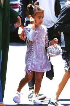 65 Times North West Looked Chicer Than You - North West was ever the trendsetter in a crushed velvet dress and sneakers. She carried a sequin emb - North West Kardashian, Kardashian Family, Little Kid Fashion, Kids Fashion, Jenner Kids, Kids Outfits, Cool Outfits, Baby Outfits, North Carolina