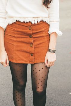 the perfect fall outfit = polka dots + winter white