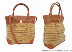 great match of cork fabric and leather - marine cork handbag