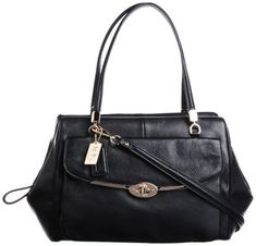 Women's Top-Handle Handbags - Coach Madison Madeline EastWest Leather Satchel Black 25166 -- You can get additional details at the image link.