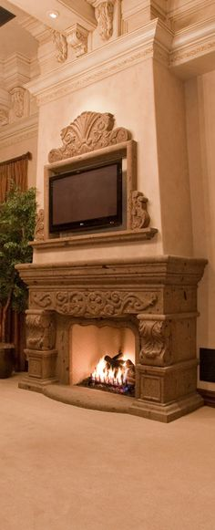 Old World, Mediterranean, Italian, Spanish & Tuscan Homes Design & Decor Marble Fireplace Mantel, Home Fireplace, Fireplace Design, Fireplaces, Fireplace Mantels, Tuscan Style Homes, Tuscan House, Home Design Decor, House Design