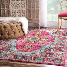 nuLOOM Vibrant Floral Persian Pink Rug (9' x 12') | Overstock.com Shopping - The Best Deals on 7x9 - 10x14 Rugs