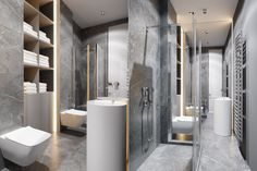 Shades of top-to-toe marble become a light grey in the bathroom. Clean, boxed designs reflect the space's, while kitchen chrome lurks in the shower fixtures.