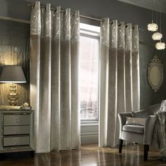 Kylie Minogue Esta Ready Made Lined Eyelet Curtains - Silver