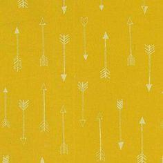 Michael Miller House Designer - Arrow Flight - Arrows in Gold Metallic