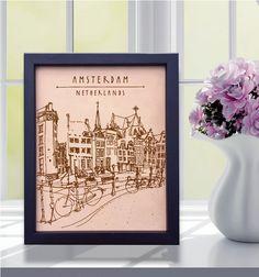 Lik180 Leather Engraved Netherlands Amsterdam street Honeymoon third anniversary personalized gift