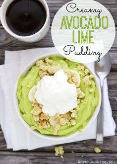 Need a healthy treat? This Lime Avocado Pudding is super easy and full of nutritious ingredients. Plus it's naturally paleo and low carb. Top with some coconut whipped cream for a dairy free pudding.