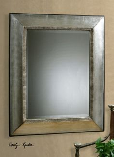 Fresno Mirror, antiqued scratched silver leaf finish with black dry brushing