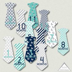 Baby Milestone Tie Stickers Baby Boy Monthly by SOSPrintables