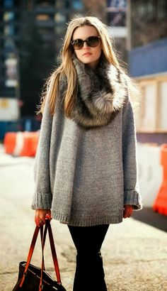 Steal The Fashion: Latest Winter Street Fashion With Oversized Sweater feels comfortable....