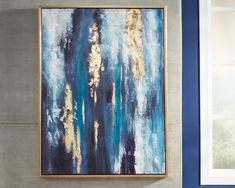 Contemporary à la mode. The Dinorah wall art is calming and abstract. Strokes of blue and teal are energized with goldtone leaf embellishment. Goldtone frame keeps it all contained. Framed Wall Art, Canvas Wall Art, Canvas Prints, Teal Wall Art, Art Graphique, Abstract Wall Art, Blue Abstract Painting, Oeuvre D'art, Painting Prints