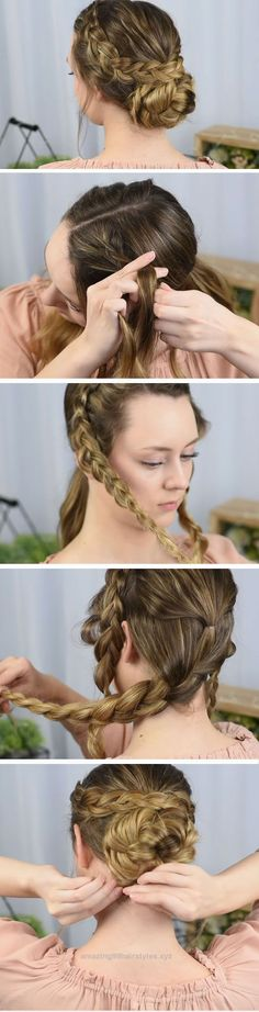 Superb Dutch Braided Up-do | Quick DIY Prom Hairstyles for Medium Hair | Quick and Easy Homecoming Hairstyles for Long Hair  The post  Dutch Braided Up-do | Quick DIY Prom Hairstyles for Mediu ..