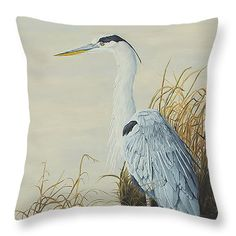 "Heron at Marsh Edge Throw Pillow 14"" x 14"" (shown) 4 more sizes available by Johanna Lerwick - Wildlife/Nature Art. Prints (paper, canvas, acrylic & metal), greeting cards and throw pillows available."