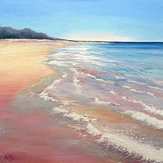 Scottish landscape beach scene Waves Rolling.