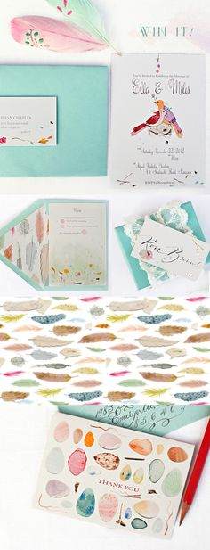 Giveaway :: Speckled Feathers Printables by One Handspun Day We are so thrilled for today's giveaway by One Handspun Day! If you haven't seen her handpainted invitation suite design and creative concept and styling in Painted Little Finds (p. Invitation Paper, Invitation Design, Wedding Paper, Wedding Cards, Wedding Stationary, Wedding Invitations, Envelopes, Nerd, Stationery Design