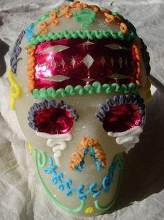 Calavera mexicana de azúcar tradicional para Día de Muertos, tamaño grande de Calaverasazucar en Etsy