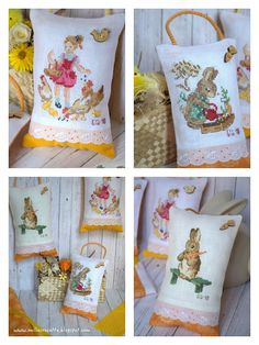 puntocroce e fantasia: piccoli amici Beatrix Potter, Easter Cross, Cross Stitch Finishing, Cute Cross Stitch, Stitch 2, Happy Easter, Hand Stitching, Needlework, Creations