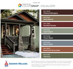 I found these colors with ColorSnap® Visualizer for iPhone by Sherwin-Williams: Polished Mahogany (SW Verde Marrón (SW Sundried Tomato (SW Jade Dragon (SW Tricorn Black (SW Storm Cloud (SW Rookwood Terra Cotta (SW Oakmoss (SW Exterior Paint Schemes, Exterior Paint Colors For House, Paint Colors For Home, Exterior Colors, Exterior Design, Color Caoba, Green Siding, House Paint Color Combination, Home Exterior Makeover