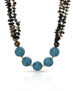 Brand New Necklace With 10.5-11mm Freshwater Pearls, Topazes and Created Turquoises  Gold Plated Base Metal. Total item weight 94.8g  - Certificate Available.