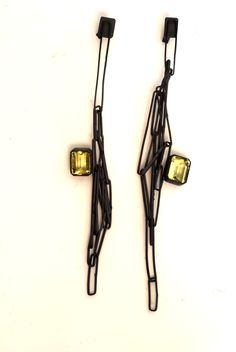 Chris Boland - Chain Earrings - Silver with Beryl 2013