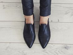 Black shoes, Stella, handmade, flats, leather shoes, by Tamar Shalem on etsy - pinned by pin4etsy.com