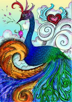 Peacock - color by vivsters on DeviantArt Peacock Painting, Peacock Art, Peacock Bedroom, Peacock Drawing, Peacock Images, Peacock Photos, Perfect Peacock, Paint Photography, Cute Monsters