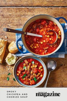 Big, bold flavours, the kick of hot paprika and the tang of orange makes this the perfect soup for a chilly day. Get the Sainsbury's Magazine recipe Chorizo Soup Recipes, Eat Your Heart Out, Potato Skins, Sainsburys, Food Trends, One Pot Meals, Soups And Stews, Magazine Recipe