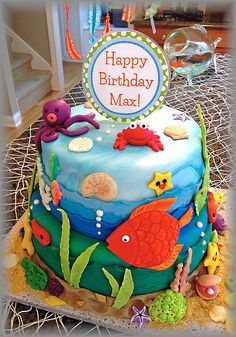 Under The Sea Birthday Baby Boy Birthday, 3rd Birthday Parties, 2nd Birthday, Birthday Cakes, Birthday Ideas, Ocean Cakes, Cowboy Theme, Under The Sea Party, Party Planning