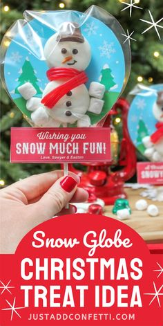 Looking for an adorable Christmas treat idea for kids or friends — a classroom treat, gift idea or Christmas party favor? Look no further! This adorable snow globe Christmas treat is too cute to pass up. It's so easy to make and only requires a few simple ingredients. The printable to make the snow globe portion is available in my Just Add Confetti Etsy shop. Also, be sure to head to justaddconfetti.com for even more creative and fun Christmas gift ideas, decor ideas, party ideas and recipes!