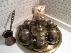 Vintage Handmade Copper Turkish Coffee&Espresso Serving Set:OTTOMAN STYLE -6CUPS